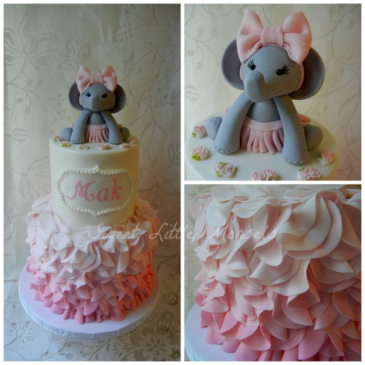 Girl baby shower cakes elephant baby shower ideas baby for Baby girl bathroom ideas