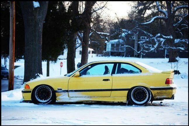 BMW E36 M3 slammed yellow winter | BMW - Ultimate Driving ...
