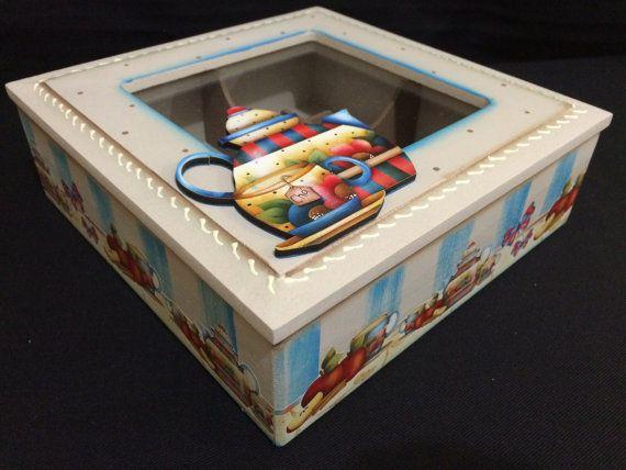 Wooden Tea Box with glass Decoupaged by CLVLArtsBrazil on Etsy