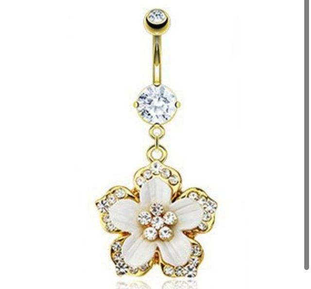 Gold belly button flower ring shop fashion ladies