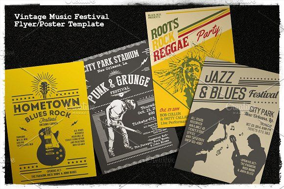 Vintage Music Festival Flyer/Poster by Rooms Design Shop on @creativemarket
