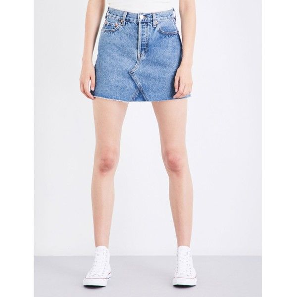 Re/Done High-waisted distressed denim mini skirt ($285) ❤ liked on Polyvore featuring skirts, mini skirts, yoke skirt, short mini skirts, white skirt, white mini skirt and high rise skirts