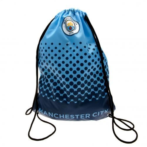 Practical and stylish looking Manchester City drawstring gym bag in club colours and featuring the club crest with Manchester City wording at the bottom. FREE DELIVERY ON ALL GIFTS