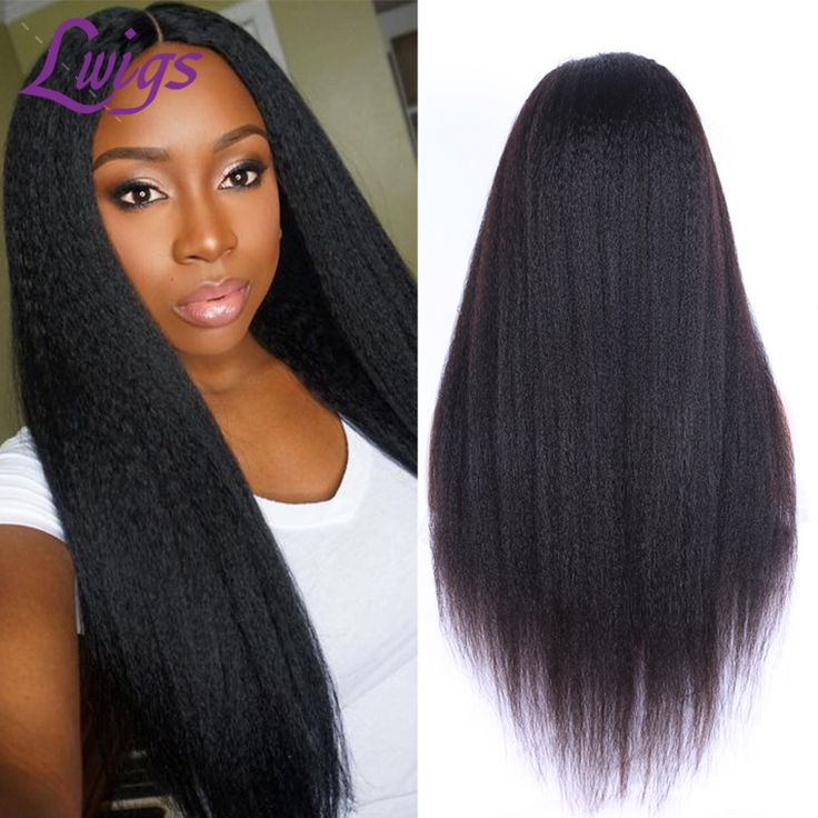 Lwigs 7A Virgin Kinky Straight Lace Wig Brazilian Human Hair Kinky Straight Middle Part Glueless Lace Front Wigs for Black Woman