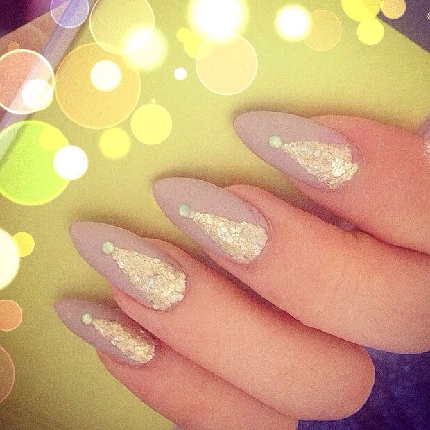 Matte nude and gold glitter chevrons