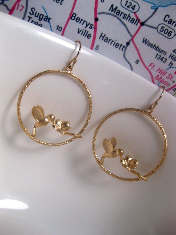 Honeysuckle Flower Bird Hoop Earrings