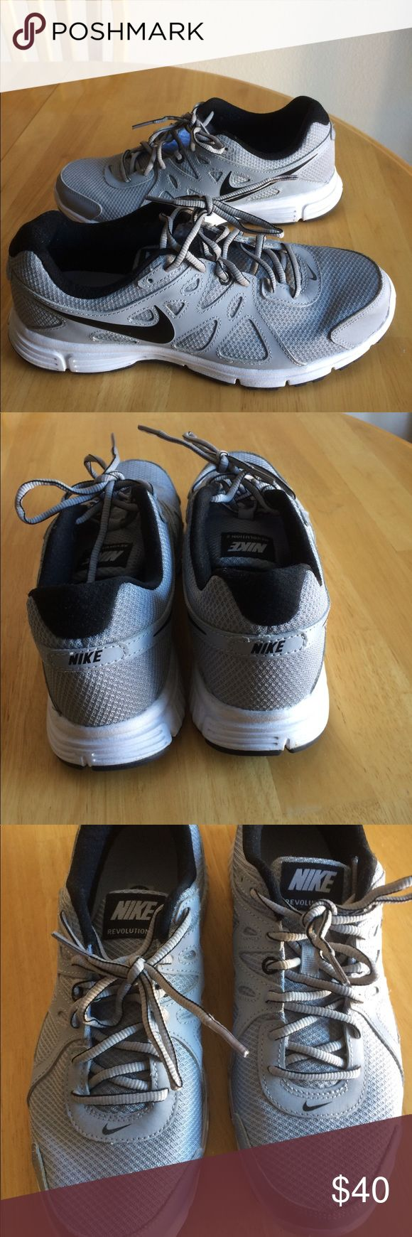 Men's Nike Revolution 2 Light Gray and Black Nike Revolution 2 Sneakers. Worn twice Nike Shoes Athletic Shoes