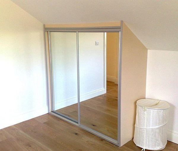 storage for slanted walls   Wardrobe with 2 sliding mirror door.