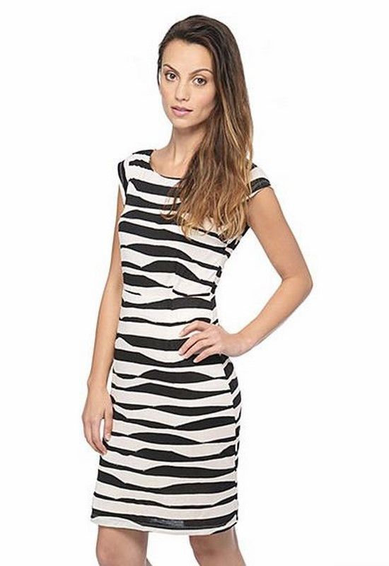 Axelle Dress | 27 Boutique An amazing black and white jacquard striped knit bodycon dress with V-back and capsleeves. Fully lined. Looks awesome with pop-color heels and statement sunnies!