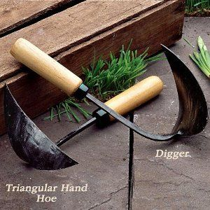 """Classic Planting Tools - Triangular Hand Hoe by Garrett Wade. $18.80. If these look like they?re hand-made, it?s because they have been forged on an anvil by hand. Different cultural trends over many hundreds of years have led Asian farm workers (these tools come from South Korea) to design their own tools far from western influences. Some are world-class classics of design ? like these two. The 6?"""" wide Triangular Hoe will allow you to move around a huge amount o..."""