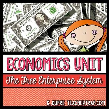 "Economics: The Free Enterprise System  (3rd Grade Social Studies Unit)In this 2-4 week unit, students learn the basics of economics through interactive classroom simulations and engaging activities.  The unit is broken into 3 sections:Part 1: Personal Finances Students begin by imagining their life in the future as you travel to the newly discovered planet ""Futura.""  Here, students must make choices about their home, vehicle, food, and fun and balance these wants and needs with the job they…"