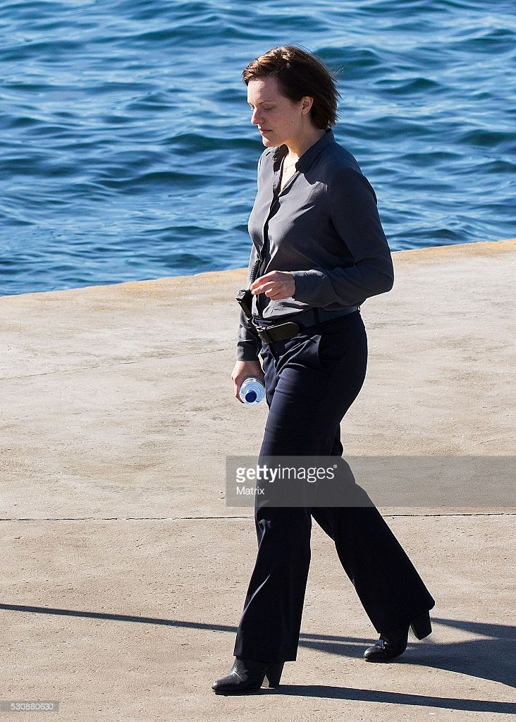 Elisabeth Moss is seen on the set of Top Of The Lake at Coogee on May 12, 2016 in Sydney, Australia.