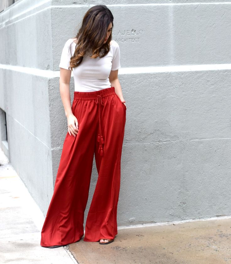 New Haircut Red Palazzo Pants // Louboutins & Love Fashion Blog by Esther Santer