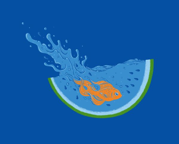 'Watermelon Dive' by Enkel Dika: Art Illustrations, Diving Art, Single Dika, Quality Art, Products Avail, Art Prints, Watermelon Splash, Watermelon Diving, Buy Watermelon