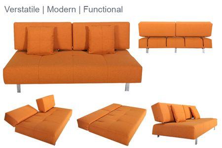 Valencia Modern Convertible Futon Sofabed Sleeper Orange