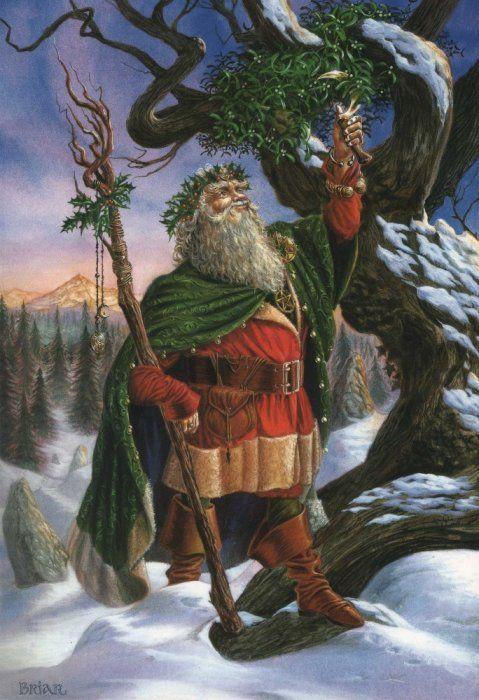 Gathering the Mistletoe : Yule/Winter Solstice : Artist: Briar