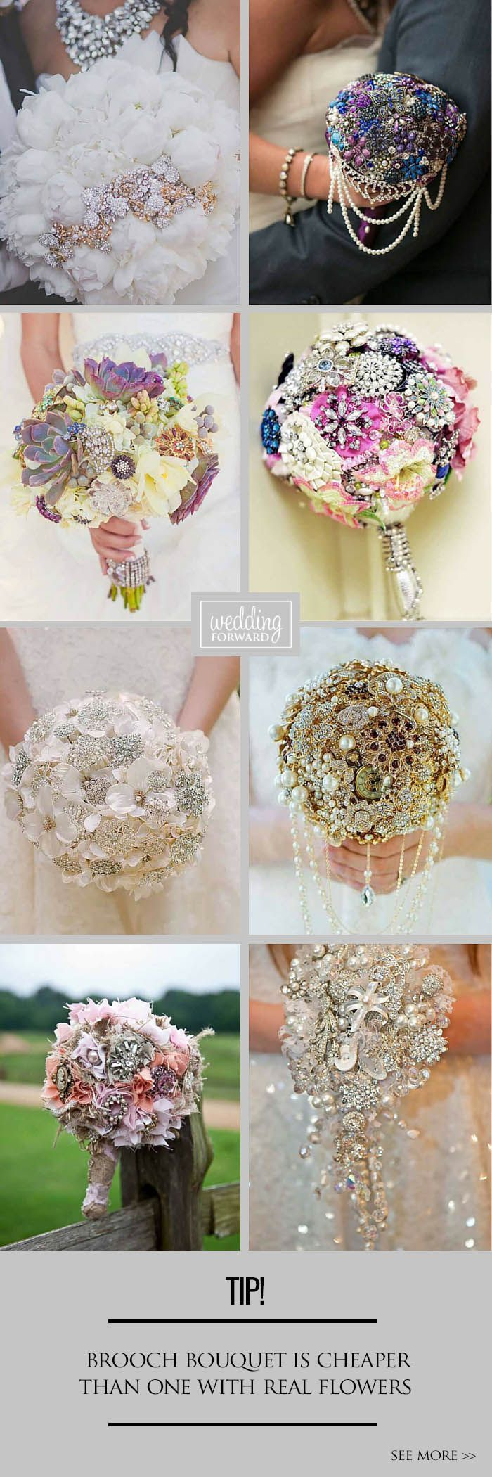 24 Chic Brooch Wedding Bouquets With Bling ❤️ They will stay in great condition for years unlike fresh flowers and be a reminder about this day. See more: http://www.weddingforward.com/brooch-wedding-bouquets/ #weddings #bouquets