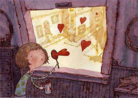 """""""Estou soprando bolhinhas de coração em sua direção.  Ao estourá-las sentirá o meu amor, explodindo emoção."""""""