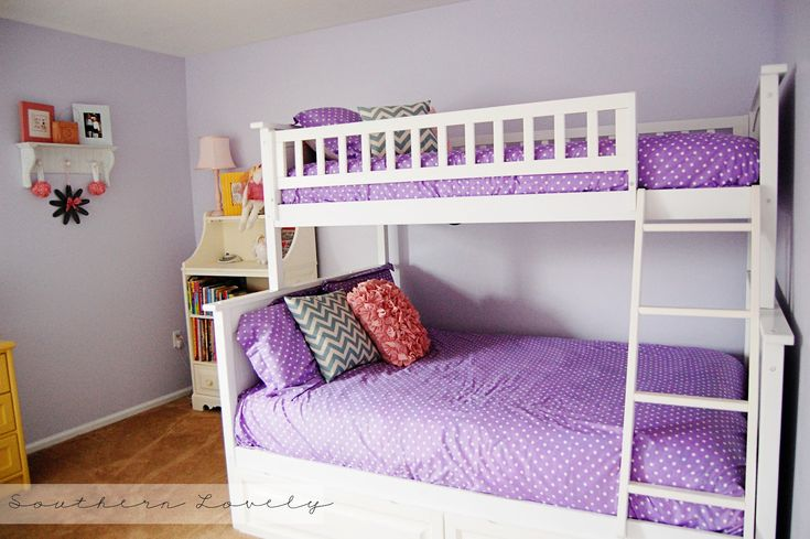 Kids Bedroom, Impressive Lovely Blue Girls Room With Beautiful White Bunk Beds And Nice Purple
