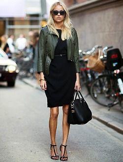 Black dress green jacket turf