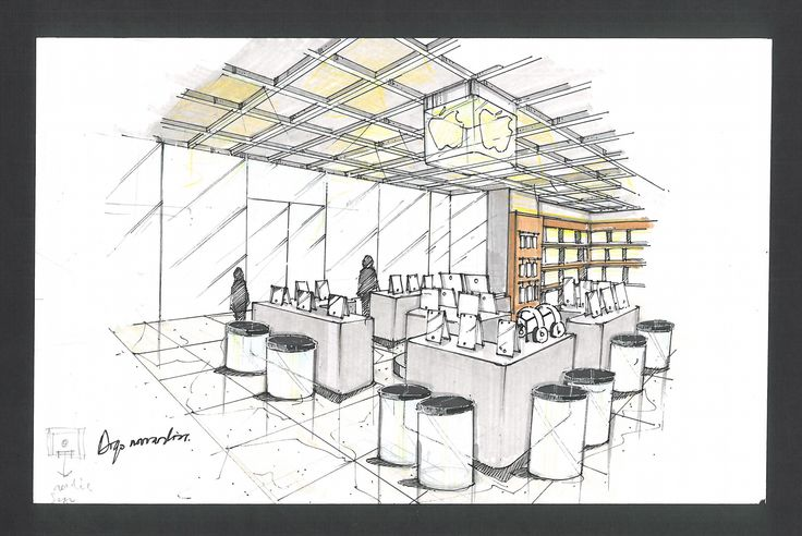 interior design aple store sketch