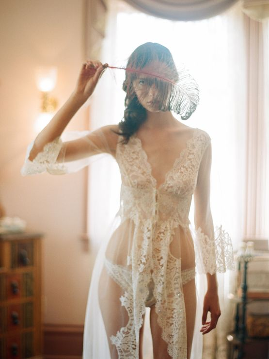 Chantilly lace robe by Claire Pettibone
