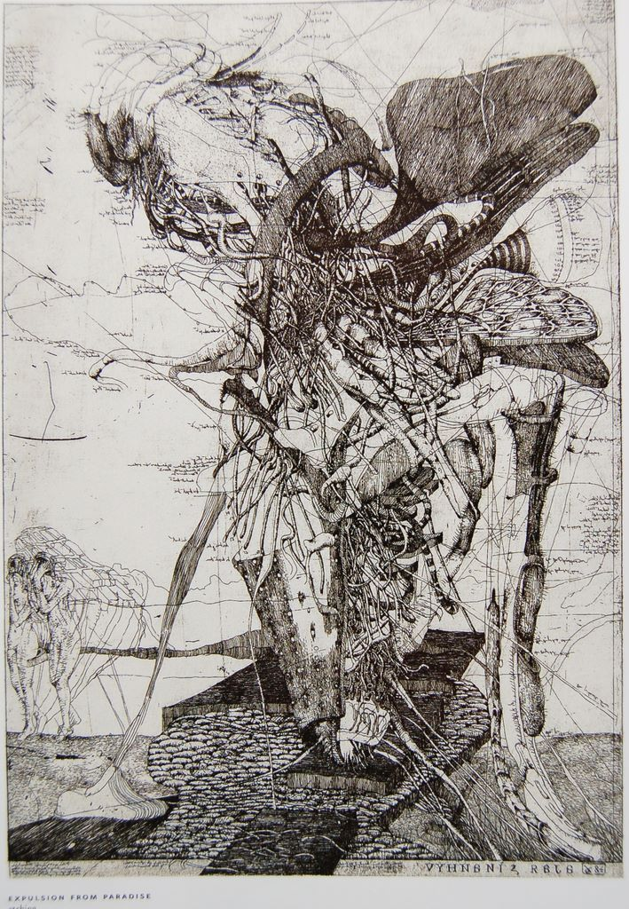 Dusan Kallay: Expulsion From Paradise, etching