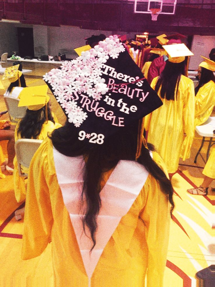 "DIY Graduation Cap by me, Jalynn. ""There's beauty in the struggle"", a lyric by J. Cole."