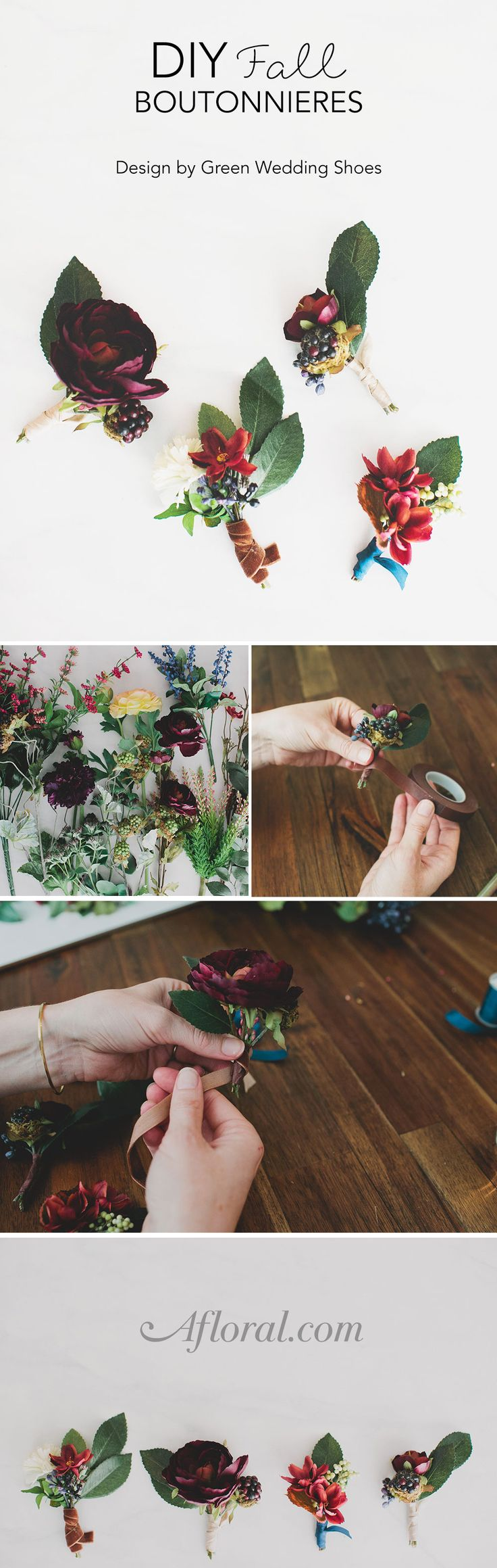 Learn how to make boutonnieres for your fall wedding with silk flowers from afloral.com. Design by Green Wedding Shoes. #diywedding