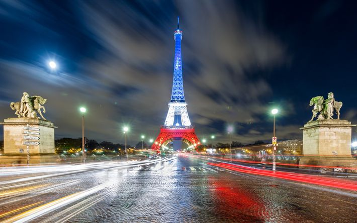 Download wallpapers Eiffel Tower, Paris, flag of France, evening, city lights, France