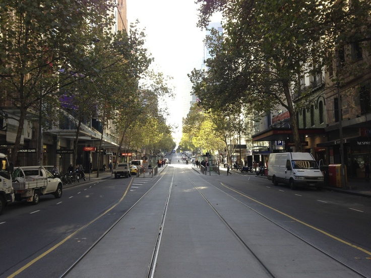 Collins Street and Trees in Autumn