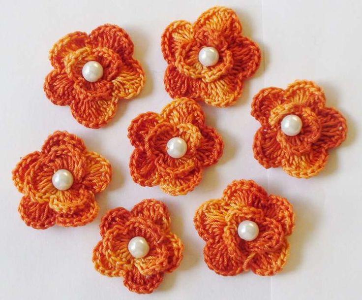 Fiori all'uncinetto: schemi e foto - Fiori arancioni