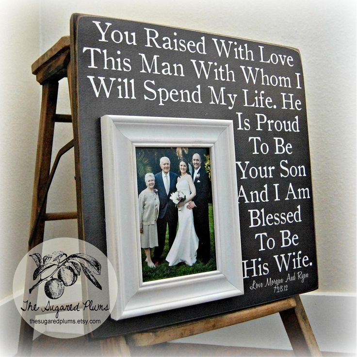 Parents of the Groom Gift, Mother of the Groom, Father of the Groom, Parents Thank You Gift, Wedding, Personalized Picture Frame 16x16 by thesugaredplums on Etsy https://www.etsy.com/listing/105788169/parents-of-the-groom-gift-mother-of-the