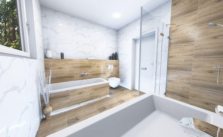 kúpeľňa kombinácia o bkladu satuario a imitácie dreva. Mramor a drevo