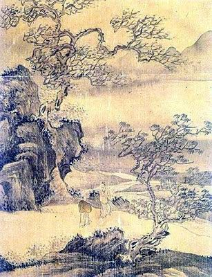 The picture of a man in the landscape - Jang Seung-eop (Korean: 1843-1897)
