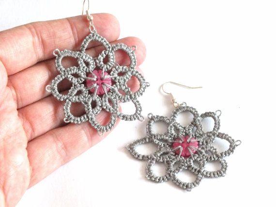 Grey Flower Tatting Earrings Grey Flower Tatted Earrings with