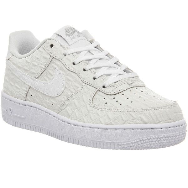 Nike Af1 Boys Sneakers (£45) ❤ liked on Polyvore featuring shoes, sneakers, trainers, unisex sports, white white croc, crocodile shoes, crocs shoes, unisex shoes, crocodile sneakers and sports footwear