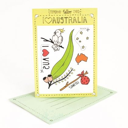 Show your love for our beautiful land down under.   Write your message on the back of the card. The person who receives it can then cut out and stick on the temporary tattoos attached to suit the occasion.