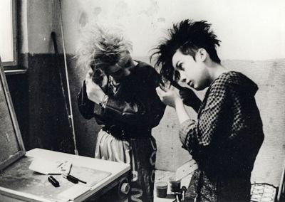 I love pictures of 80s Goths fixing their hair