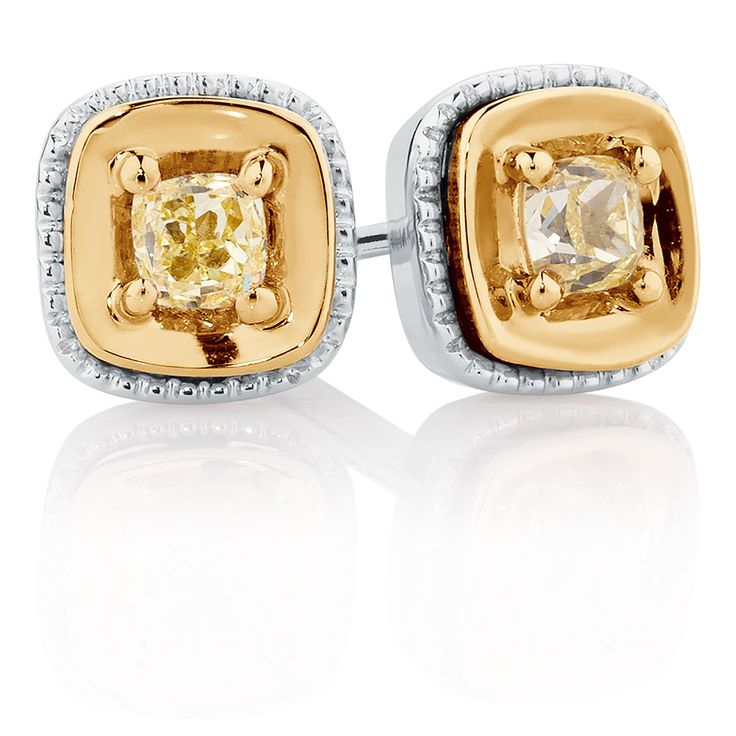 Stud Earrings with Yellow Diamonds in 10ct Yellow & White Gold