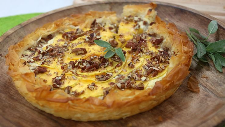 Butternut squash, pecan and ricotta tart