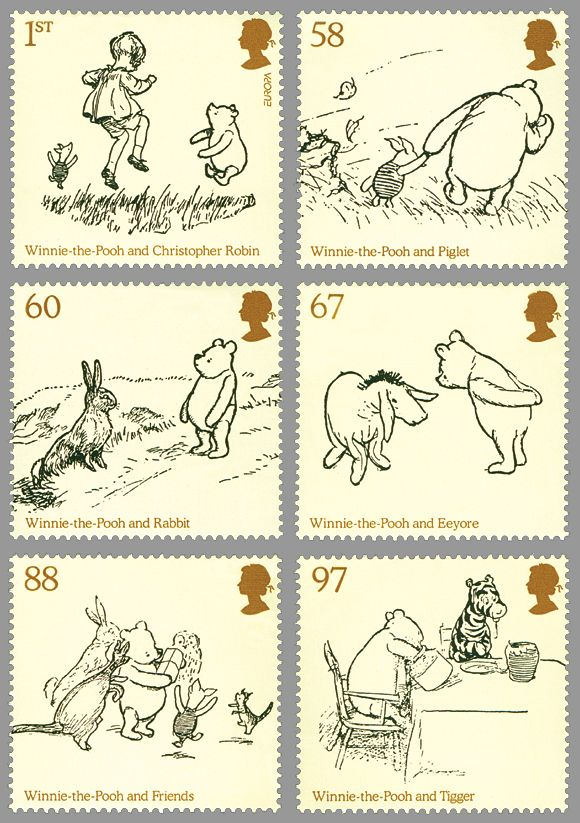 Winnie the Pooh series of postage stamps from Britain :)