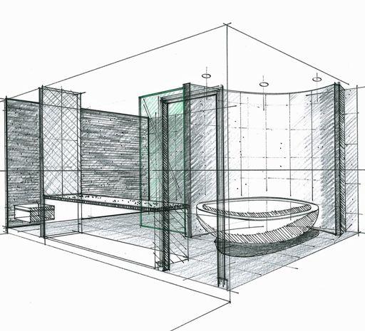 Les 30 meilleures images du tableau perspectives et for Croquis de salle de bain