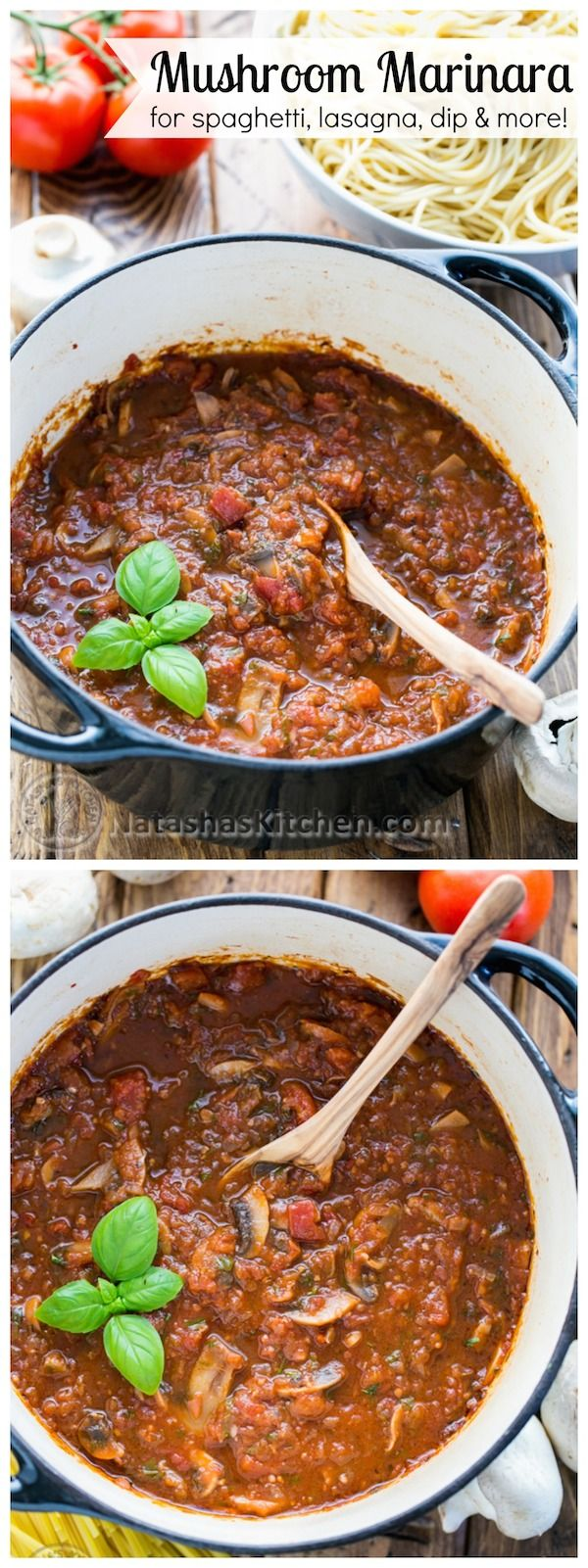 A mushroom marinara that's 100x better than any canned sauce! Perfect for spaghetti, lasagna, chicken parmesan  more! @natashaskitchen