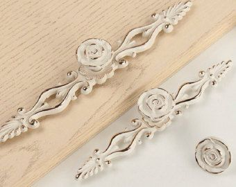 Fiore rosa Dresser manopole tira cassetto Pull manopola gestisce Hardware mobili armadio Maniglia porta pomoli maniglie armadio da cucina oro bianco