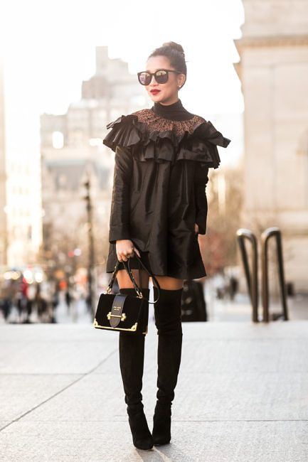 Cheers to 2017 :: Ruffle dress & Tall boots :: Outfit ::  Top :: Isa Arfen dress, ASOS turtleneck Shoes :: Stuart Weitzman Bag :: Prada Accessories :: Karen Walker sunglasses, Wendy's Lookbook x Mejuri earrings & rings, Stila 'Fiery' lip color Published: January 4, 2017