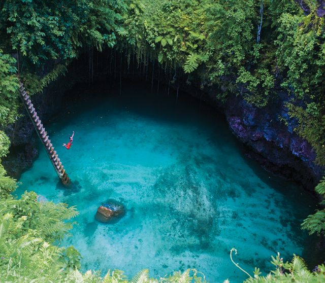 To Sua Ocean Trench is located near Lotofaga village, Samoa. To Sua translates as 'big hole' and is converted into a large swimming area. A ladder is installed on site for visitors access to and fro into the 30 meter deep seawaters. The site is also surrounded with beautiful colorful gardens. Hard to find, ask the way!