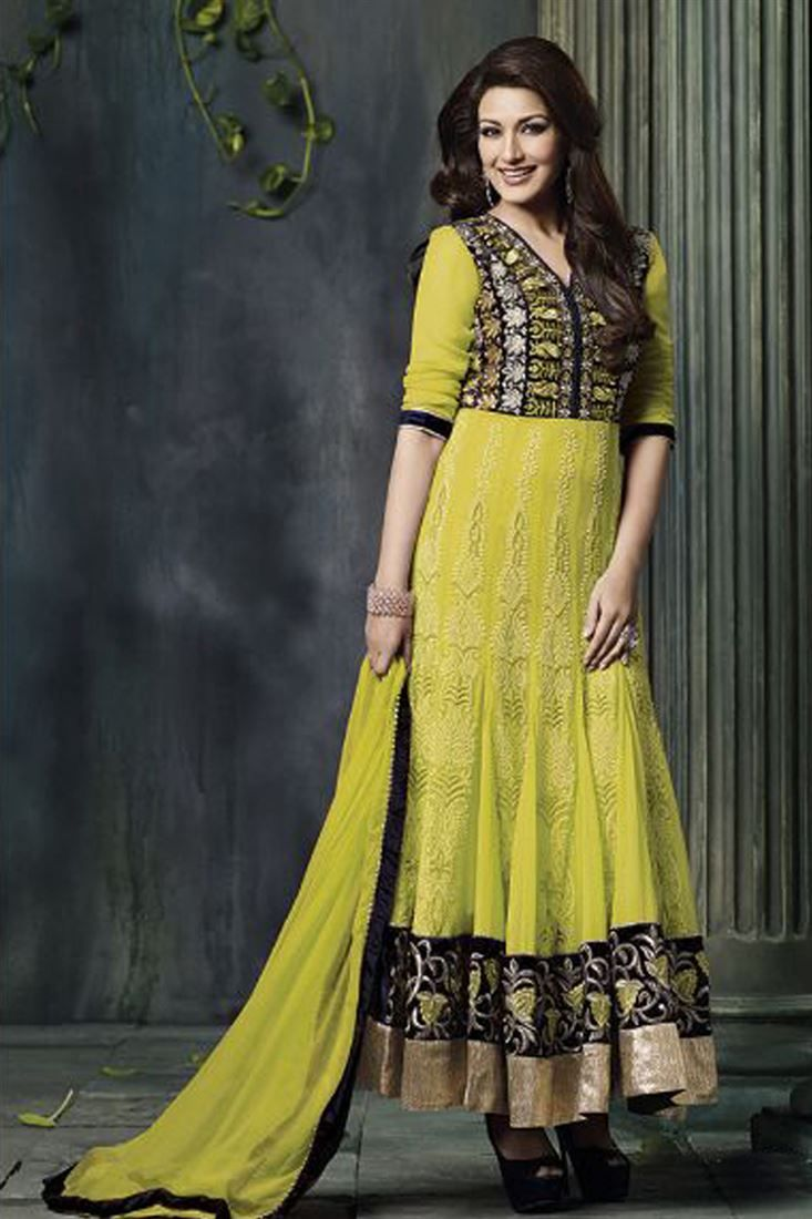 Sonali Bendre Lime Net Ankle Length Festive Wear Suit @ 50% discount