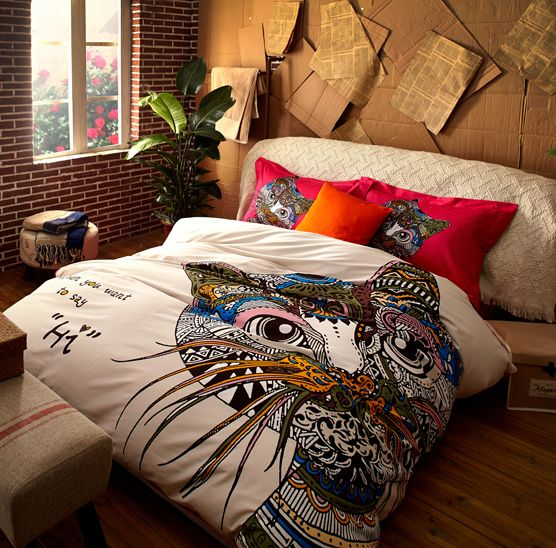 2015 New Modern Cat Luxury Long staple cotton Korean white bedding set adult Full king queen size 4pcs bohemian bed sets-in Bedding Sets from Home & Garden on Aliexpress.com   Alibaba Group