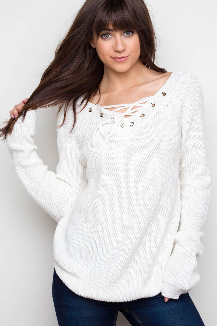 Charley Lace Up Sweater - Ivory